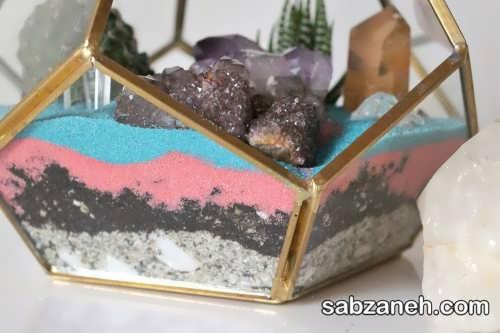 تراریوم کاکتوس با شن های رنگی